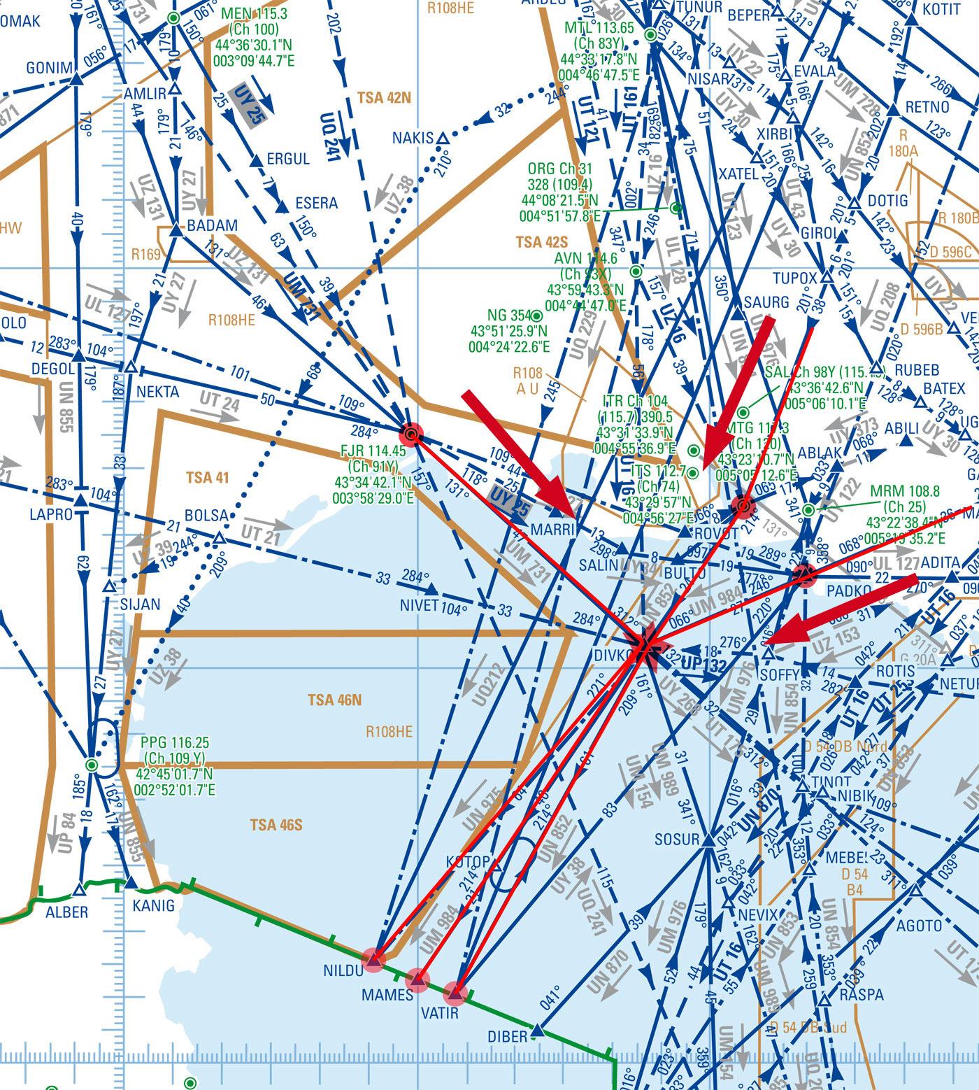 carte du secteur M avec les différents flux et le point de conflit DIVKO