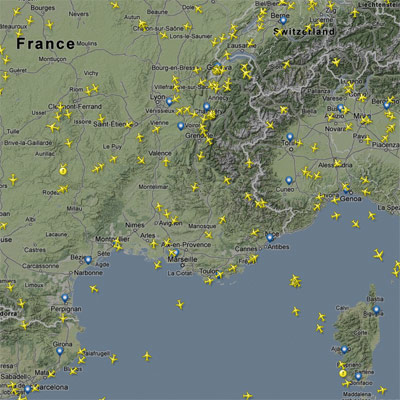 La FIR Marseille sur FlightRadar24