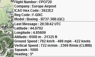 Des données ADS-B grâce au site RadarVirtuel