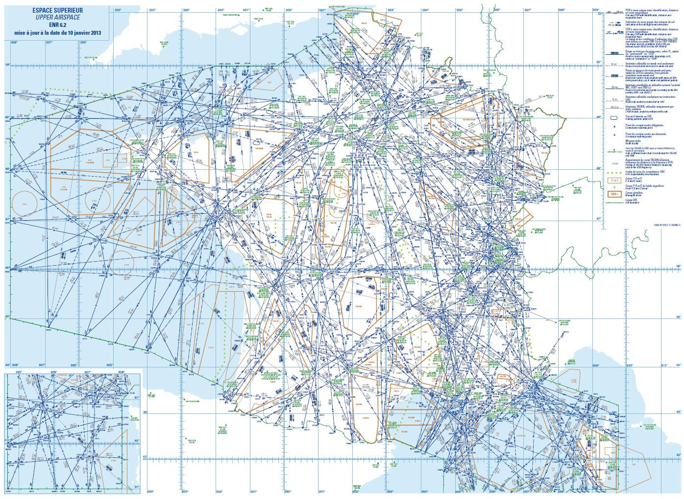Carte des routes aériennes supérieures