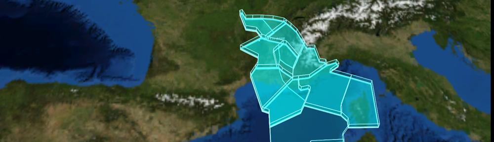 Vue des secteurs UIR du CRNA Sud Est grace à Videso3d