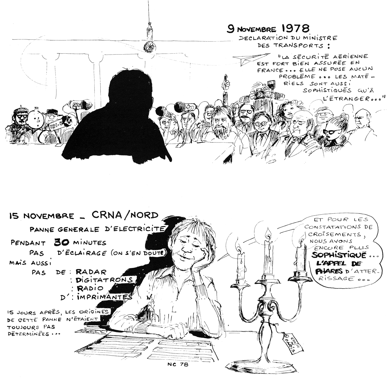 Dessin panne électrique à Athis-Mons en 1978
