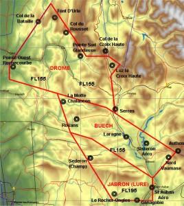 """Issu d'une publication de la commission """"espaces aériens"""" de la fédération française du vol à voile, cette carte illustre les trois zones créées dans les alpes permettant aux planeurs d'y évoluer en toute sérénité."""