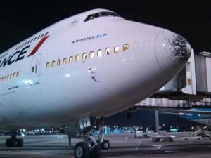 Le 12 novembre 2013, un vol Air France assurant la liaison Rio-Paris à du se dérouter à Rio après avoir subi un orage de grêle. Sur cette photo, les dégâts sur le nez de l'appareil sont bien visibles.