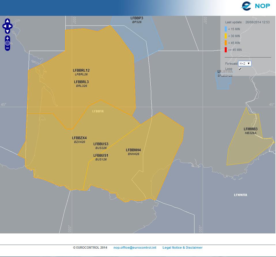Cette carte du NOP zoomée sur le sud de la France, le 26/08/2014 permet de voir une prévision de l'état du réseau deux heures après l'heure indiquée (option H+2 cochée). Dans le cas présent, Bordeaux ACC régule pas mal de secteurs (dont le secteur H4 identifié comme LFBBNH4). Du côté de Marseille ACC, nous constatons une régulation sur le secteur B3 (LFMMB3)